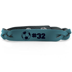 Soccer Leather Engraved Bracelet Ball with Number