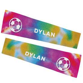 Soccer Printed Arm Sleeves - Tie Dye Pattern with Soccer Ball