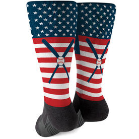 Baseball Printed Mid-Calf Socks - USA Stars and Stripes