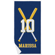 Softball Premium Beach Towel - Personalized Player with Crossed Bats