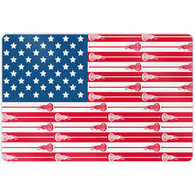 "Girls Lacrosse 18"" X 12"" Aluminum Room Sign USA Stick Flag (Girls Sticks)"