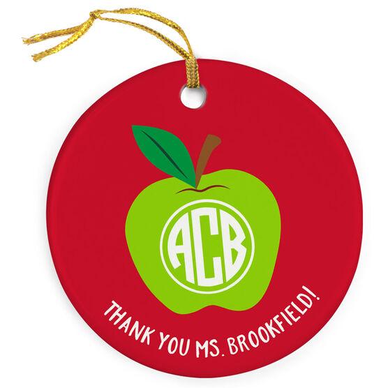 Teacher Porcelain Ornament - Monogram Apple