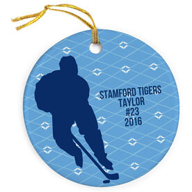 Hockey Porcelain Ornament Player With Text