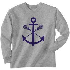 Girls Lacrosse Long Sleeve T-Shirt - Lacrosse Sticks Anchor