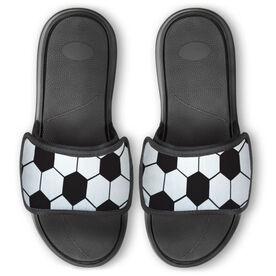Soccer Repwell™ Slide Sandals - Soccer Ball Texture