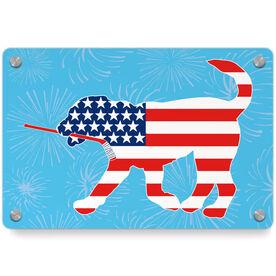 Hockey Metal Wall Art Panel - Patriotic Howe The Hockey Dog