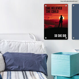 """Field Hockey Aluminum Room Sign (18""""x12"""") She Believed She Could So She Did"""
