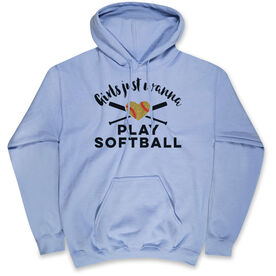 Softball Standard Sweatshirt Girls Just Wanna Play Softball with Glitter