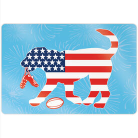 """Rugby 18"""" X 12"""" Aluminum Room Sign - Patriotic Ray The Rugby Dog"""