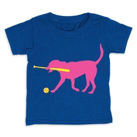 Softball Toddler Short Sleeve Tee - Mitts the Softball Dog