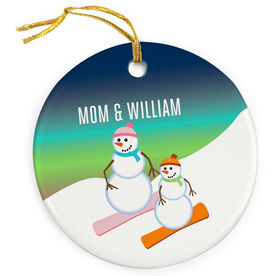Snowboarding Porcelain Ornament Snowman Mother and Child