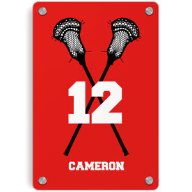 Guys Lacrosse Metal Wall Art Panel - Personalized Crossed Sticks