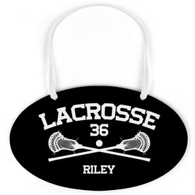 Guys Lacrosse Oval Sign - Personalized Lacrosse with Crossed Sticks