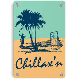Guys Lacrosse Metal Wall Art Panel - Chillax'n Beach Guy
