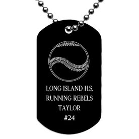Engraved Personalized Softball Dog Tag Necklace