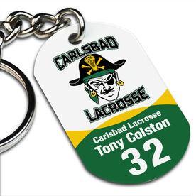 Lacrosse Printed Dog Tag Keychain Custom Team Color Logo