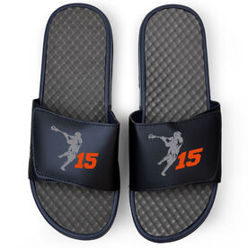 Guys Lacrosse Navy Slide Sandals - Lax Jumpshot with Number