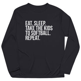 Softball Long Sleeve Performance Tee - Eat Sleep Take The Kids To Softball