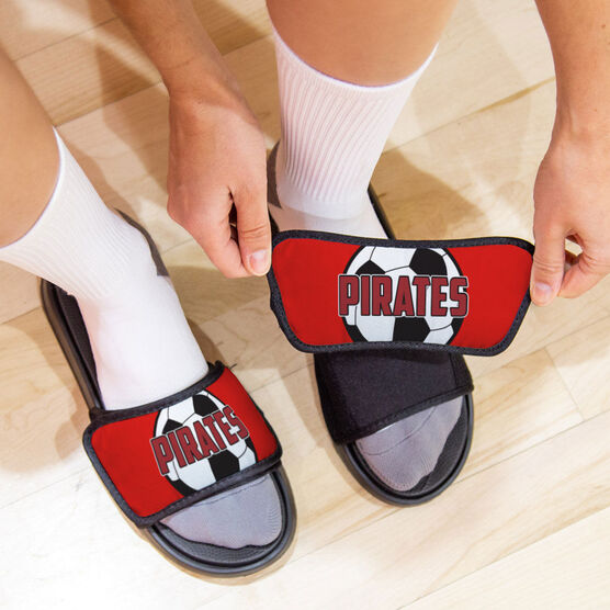 Soccer Repwell® Sandal Straps - Soccer Ball with Text