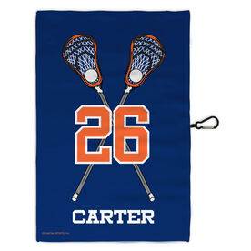 Lacrosse Bag Towels Personalized Lacrosse Crossed Guy Sticks with Big Number
