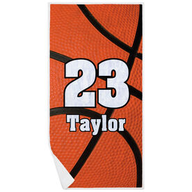 Basketball Premium Beach Towel - Personalized Big Number