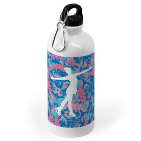 Figure Skating 20 oz. Stainless Steel Water Bottle - Floral with Skater