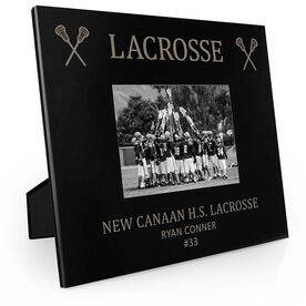 Guys Lacrosse Engraved Picture Frame - Lacrosse & Crossed Sticks