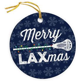 Guys Lacrosse Porcelain Ornament Merry Laxmas