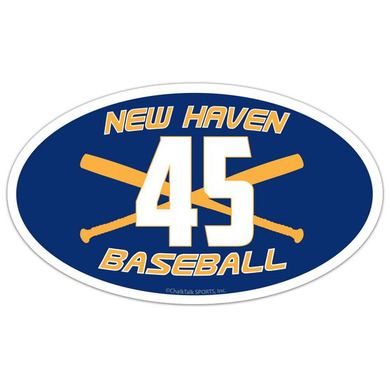 Baseball Oval Car Magnet Team Name and Number