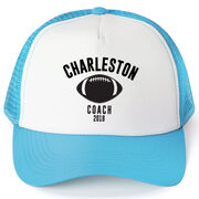 Football Trucker Hat - Team Name Coach With Curved Text