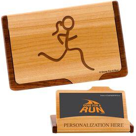 Runner Girl Figure Maple Business Card/Credit Card Holder