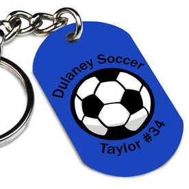 Custom Soccer Ball Printed Dog Tag Keychain