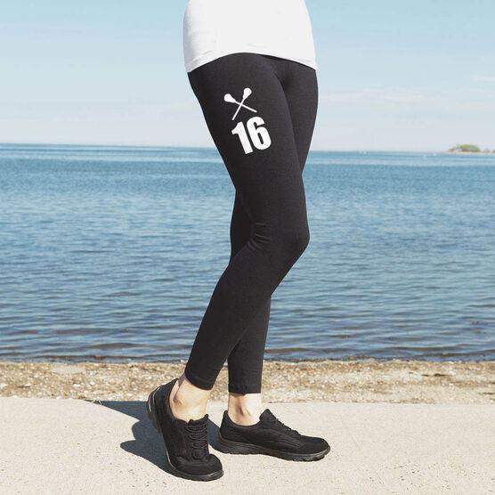 Girls Lacrosse High Print Leggings - Crossed Sticks With Number