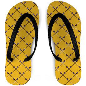 Guys Lacrosse Flip Flops Stick Pattern