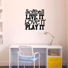 Softball Live It Love It Play It Removable ChalkTalkGraphix Wall Decal