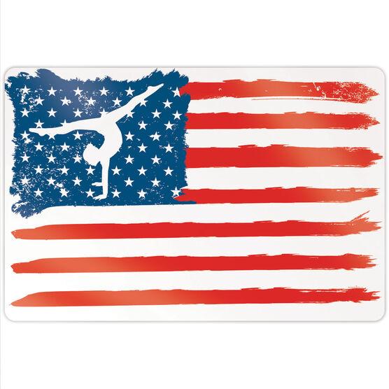 """Gymnastics 18"""" X 12"""" Aluminum Room Sign - American Flag"""