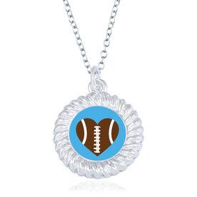 Football Braided Circle Necklace - Ball Heart