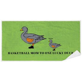 Basketball Premium Beach Towel - Mom Lucky Ducks