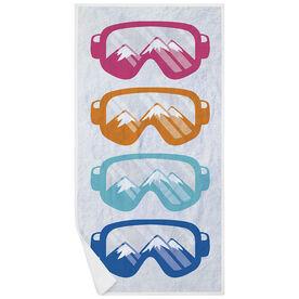 Skiing & Snowboarding Premium Beach Towel - Multicolored Snow Goggles