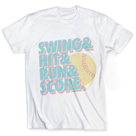 Vintage Softball T-Shirt - Swing & Hit & Run & Score