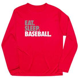 Baseball Long Sleeve Performance Tee - Eat Sleep Baseball Bold Text