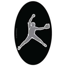 Softball Oval Car Magnet Pitcher