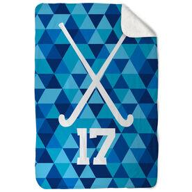 Field Hockey Sherpa Fleece Blanket - Personalized Field Hockey Sticks Triangles