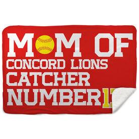 Softball Sherpa Fleece Blanket - Personalized Softball Mom