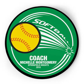 Softball Circle Plaque - Home Run Coach With 3 Lines