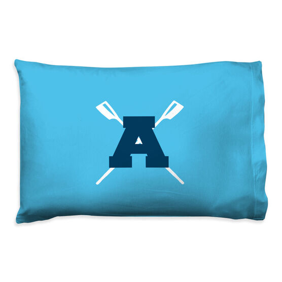 Crew Pillowcase - Crossed Oars With Initial