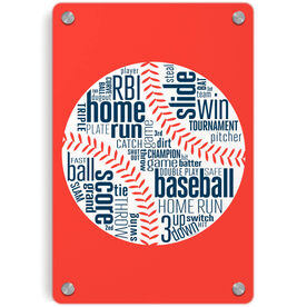 Baseball Metal Wall Art Panel - Words