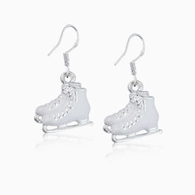 Silver Enameled Figure Skating Earrings