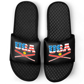 Softball Black Slide Sandals - USA Softball