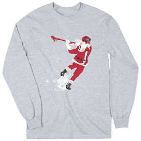 Guys Lacrosse Long Sleeve T-Shirt - Santa Laxer